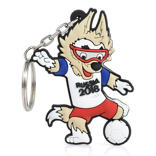 2018 Russia World Cup Football Mascot Zabivaka Keychain Key ring Souvenir Pendant Hanging Chain Keychain Car Key Rings Holder