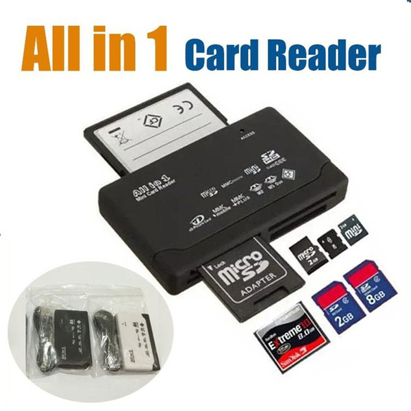 Universal All in 1 one Fast Read Speed USB 2.0 Multi Memory Mini Card Reader Adapter CF MS T-Flash TF M2 XD