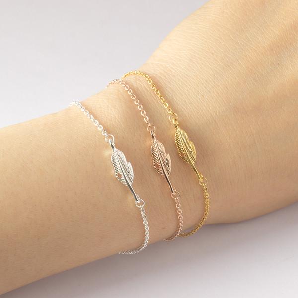 whole saleDIANSHANGKAITUOZHE Bracelet Femme 2016 Jewelry Vintage Pulseras Gold Colour Silver Simple Leaf Feather Bracelet For Women