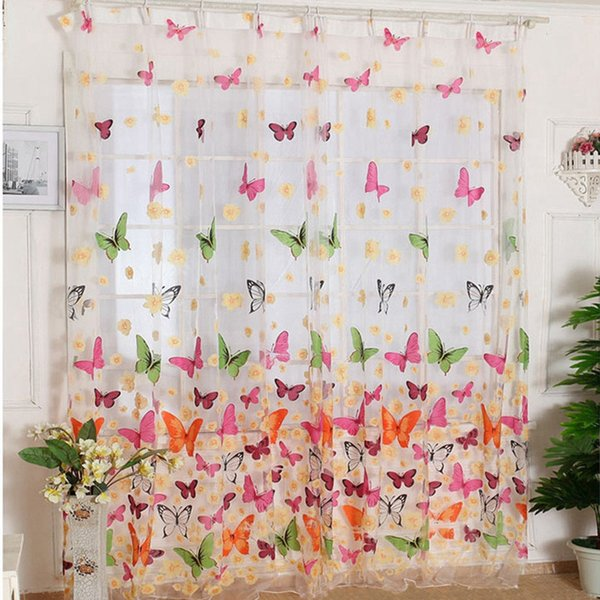 Butterfly Print Window Sheer Curtains Panels for Living Room Bedroom Home Decor Europe Style Voile Door Sheer Window Curtains