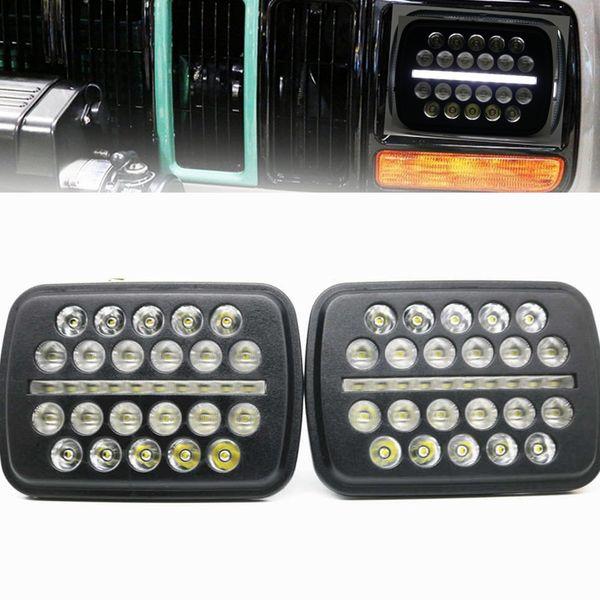 5X7 7X6 a mené le phare 7inch a mené des lumières de travail pour le double faisceau de cristal scellé clair de Van de phares DRL scellé DRL pour Jeep YJ Cherokee XJ