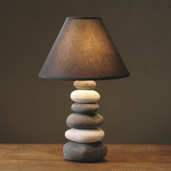 Creative Ceramics Stone Table Lamps Retro Bedroom Bedside Study Cafe Decorative Lighting table lights ZA