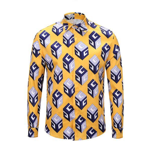 Brand new hommes impression chemises hommes de la mode de conception des chemises occasionnelles hommes robe chemise chemise à manches longues de luxe