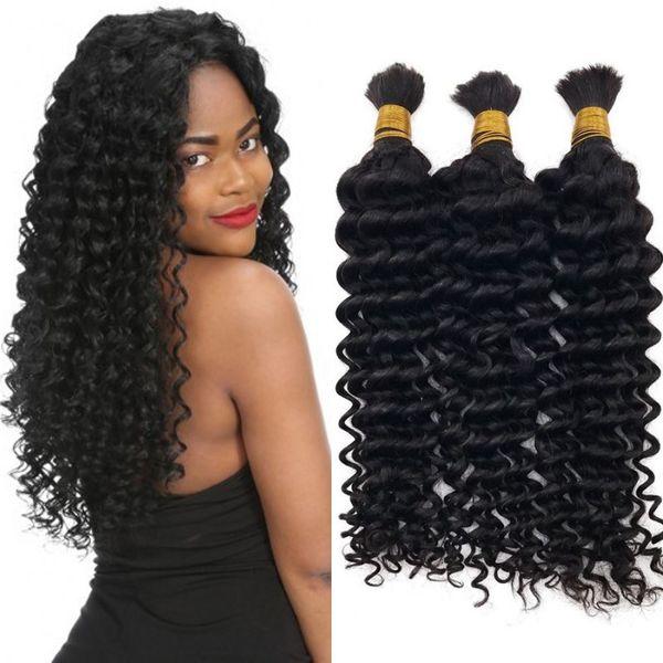 Deep Wave Human Hair Bulk No Attachment High Quality Brazilian Hair Bulk 3 Bundles for Black Women FDshine