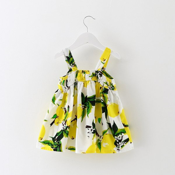 2018 Summer Baby Kids Clothes Dress Cute Baby Girl Lemon Design Print Big Bow Suspender Dress Beach Wholesale Free Shipping