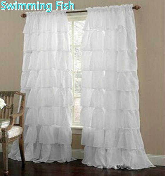 Rideau en tulle multicouche en dentelle sur mesure pour fenêtre pour chambre d'enfant à mi-ombre, stores pour tringle à rideau transparente, poche / crochet