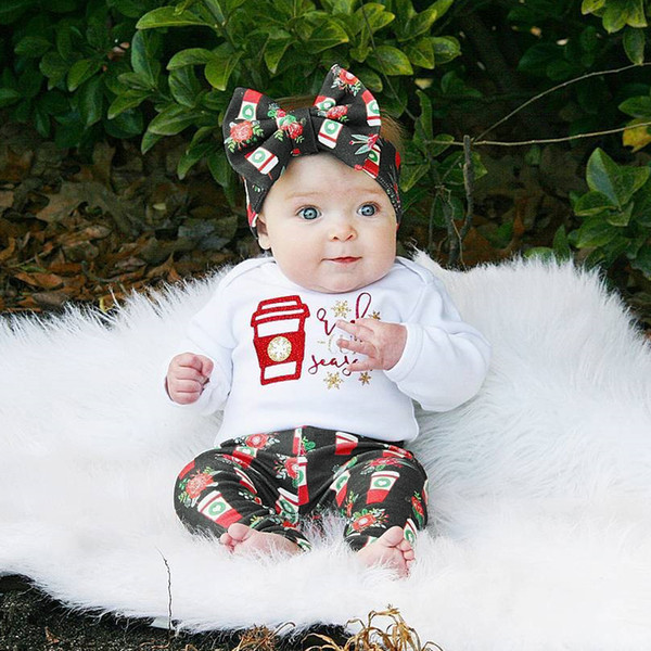 Newborn Baby Romper Boys Girls Clothes Toddler Outfit Romper+Pants+Headband 3pcs set Flower Red Cup Suit Kid Clothing Baby Boy Girl Boutique