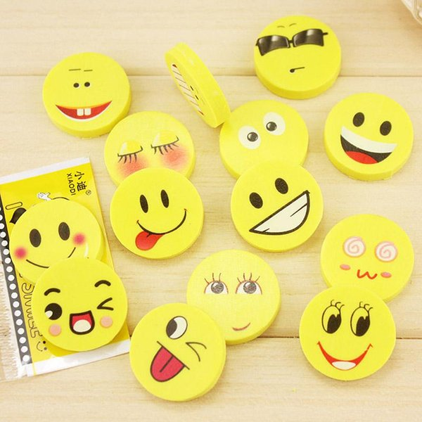 20 PCS/lot New Smile Face Erasers Rubber For Pencil Kid Funny Cute Stationery School Supplies Office Accessories Student Prize