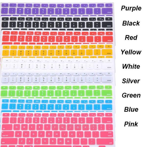 9 Candy Colours Силиконовая клавиатура Кожаный чехол для / Macbook Pro 13 15 17