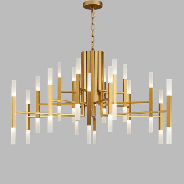 Moderne Kupfer LED Lampe Acryl Kronleuchter Duplex Gebäude Gold Schwarz Suspension Wohnzimmer Dekor Anhänger Home Beleuchtung G243