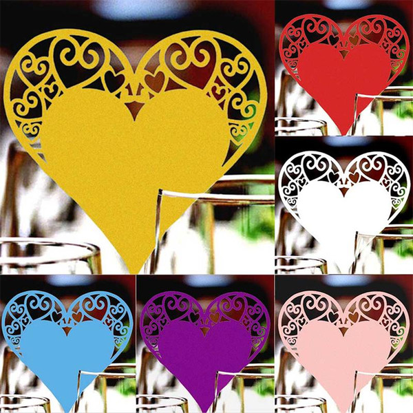6 colors Wedding Table Decoration Place Cards Laser Cut Heart shape Floral Wine Glass Place Cards For Wedding Party Decoration