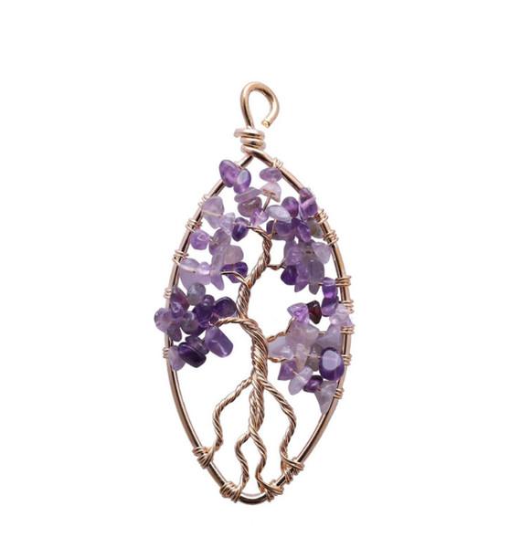 Mode klassische Anhänger Halskette Edelstein Amethyst Perlen Baum des Lebens für Männer und Frauen Muttertagsgeschenk