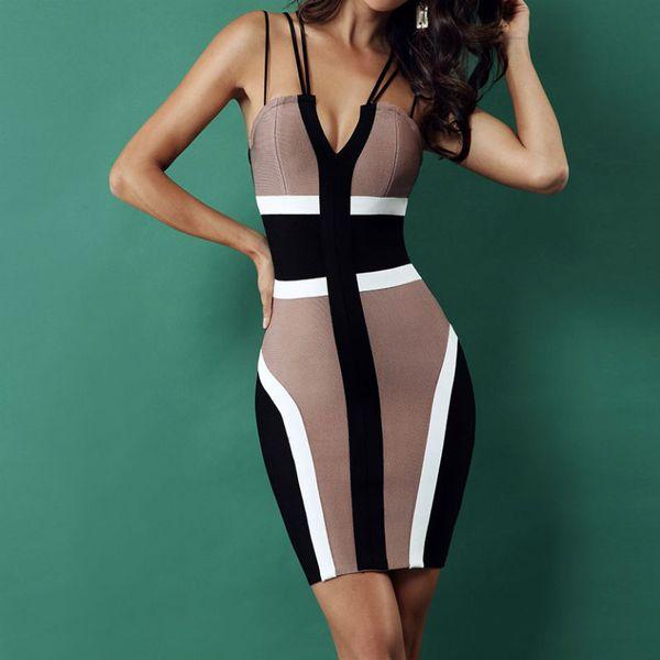 Новый Fashion 2018 Celebrity Bodycon Bandage Dress Spaghetti Strap Sexy Summer's Dresses Вестидо Mini Runway Вечерняя вечеринка Клубные платья