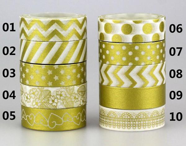 best selling 15mm*10m Gold Stamping Pineapple Fruit Japanese Washi Tape Scrapbooking Tools Papelaria Decorative Masking Tape Lot 2016