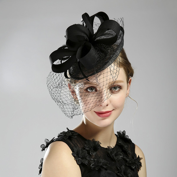 Meistverkaufte Bankett Hut schwarz Feder Schleier Dinner Party Zubehör Braut Kopfbedeckungen 2019 günstige Fascinator Hüte