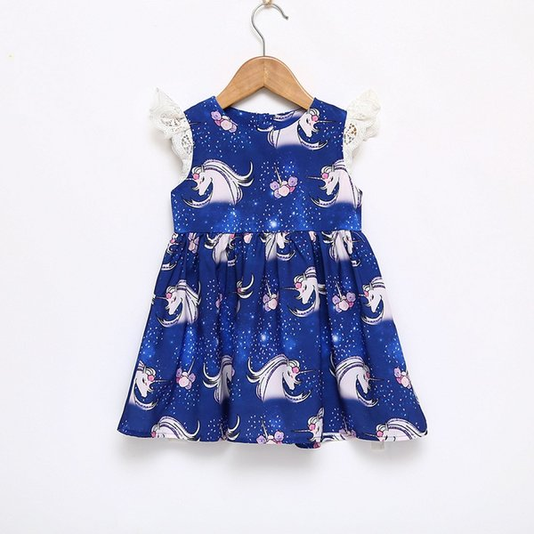 Vieeoease Girls Dress Unicorn Kids Clothing 2018 Summer Fashion Sleeveless Vest Lace Tutu Princess Party Dress EE-621