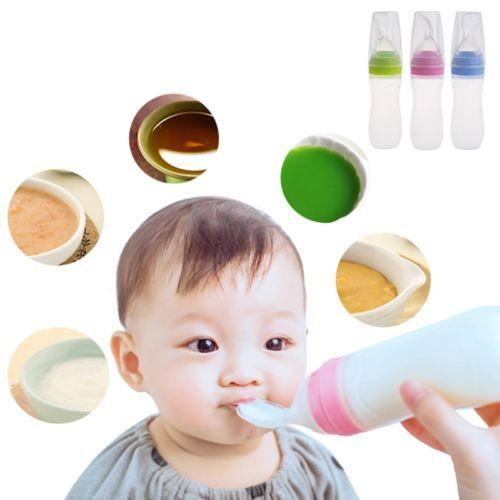 90ml Baby Silicone Feeding Bottle With Spoon Squeezing Feeding Spoon Training Scoop Rice Cereal Food Supplement Feeder 3 Colors LJJA563