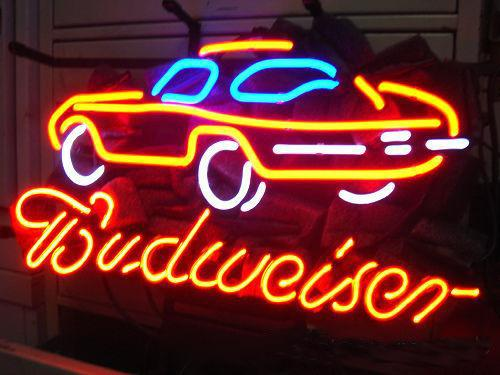 "Budweiser Logo Race Car Neon Sign Handmade Real Glass Tube Game Sport Bar Disco KTV Motel Hotel Company Display Neon Signs 17""X14"""