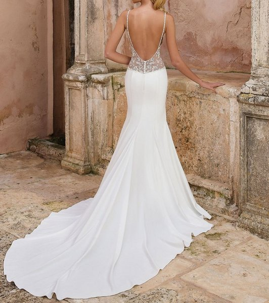Mode t mermaid wedding dre 2018 for bride fit and flare dre e with illu ion beaded cutout paghetti trap heer low back bridal gown