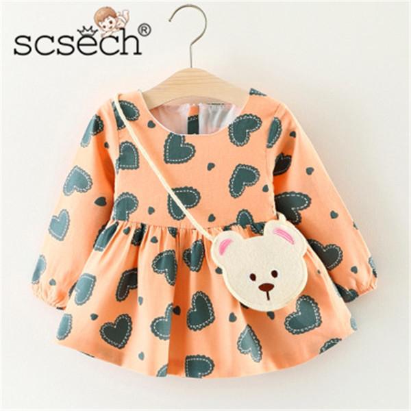 Scsech 2018 Ropa de Niños Niños Vestidos de Bebé Otoño Invierno Niñas Ropa de Bebé Vestido de Manga Larga Vestidos de Princesa S8741