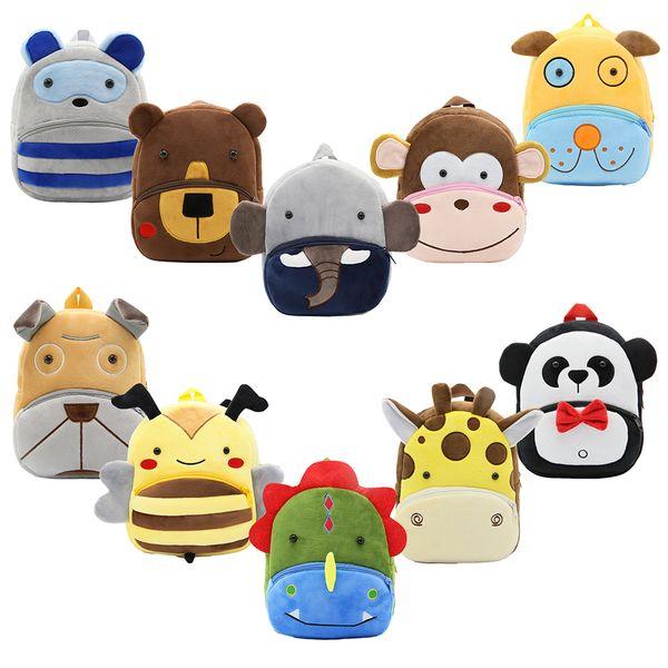 Garçons en peluche animaux sacs à dos chiot dinosaure panda Moneky licorne ours éléphant girafe 30 dessins Zoo 3D épaules sac à dos maternelle