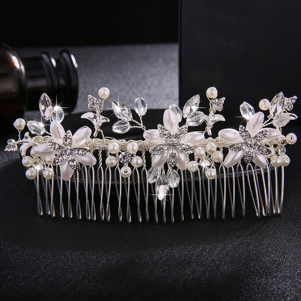 Ivory White Pearls Long Hair Combs Fashion Rhinestone Hairpins Wedding Bride Hair Jewelry Accessories for Women Tiaras JCH148