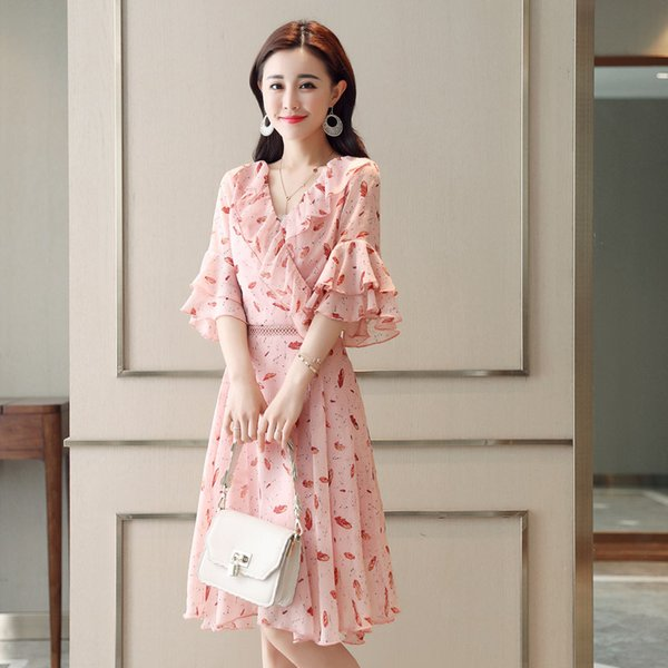Summer new style short sleeved broken chiffon dress ladies' sleeves fashion Korean version thin horn sleeve printed skirt