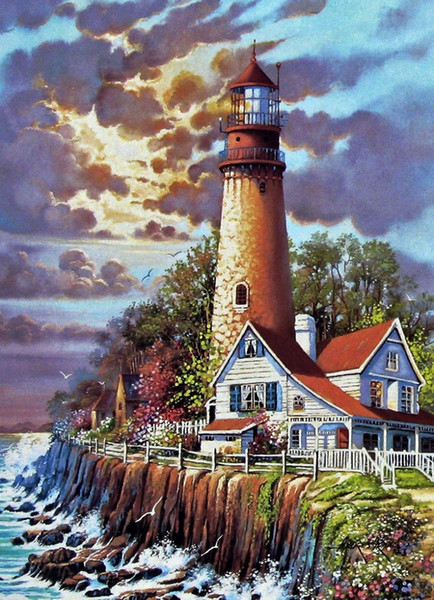 16x20'' DIY Island Lighthouse at the Sunset Dusk Paint On Canvas By Numbers Kits Art Acrylic Oil Painting Frameless For Adults and Children