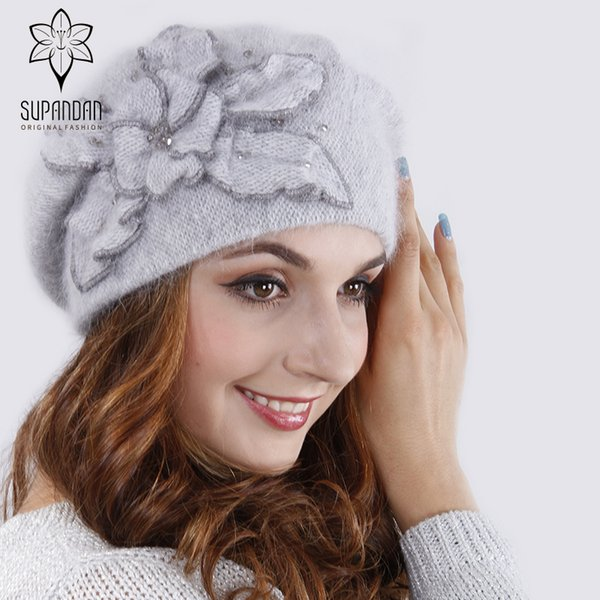 SUPANDAN Knitted Hand Made Beret Hat Scarf Set Women Caps Floral Flower Fox Fur Pom Pom Autumn Winter Girls Hat Scarf V16045