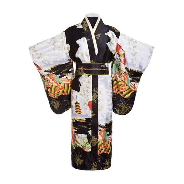 Noir Femme Dame Tradition Japonaise Kimono Yukata Avec Obi Fleur Vintage Robe De Soirée Cosplay Costume Taille unique ZW01