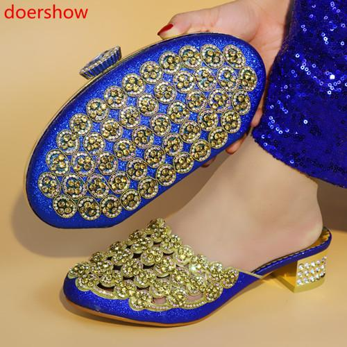 Blue Africa Summer Style Woman Shoes And Bag Set Fashion Rhinestone High Heel Shoes And Bag Set For Evening Party !A15-205