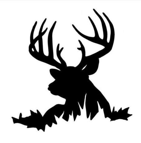 14.9 * 15.2 CM Cerf dans l'herbe Autocollants De Voiture Chasse Animal Vinyle Car Styling Stickers Accessoires Noir / Argent C9-1829