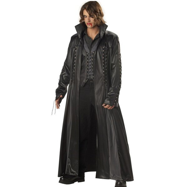 Halloween Adult Mens Vampire Costume Count Dracula Fancy Dress Outfit Cape The Matrix Killers Leather Club DS Fancy Dress