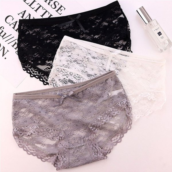 Breathable Transparent Low Waist Panties Hollow Floral Bow Full Lace Briefs Women Underwear Girl Panties Crotch Lingerie