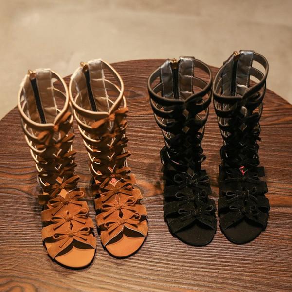 Vente chaude D'été Mode Romaine Bottes High Top Filles Sandales Kds Gadiator Sandales Tout-petit Enfant Sandales Filles Haute Qualité Chaussures