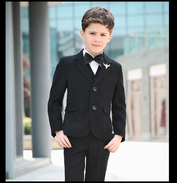 2fede42a44417 Compre Nimble Boy Trajes Para Bodas Sólido Negro Chicos Traje De Boda Traje  Formal Para Niños Niños Trajes De Boda Chaqueta Meninos Terno Infantil ...