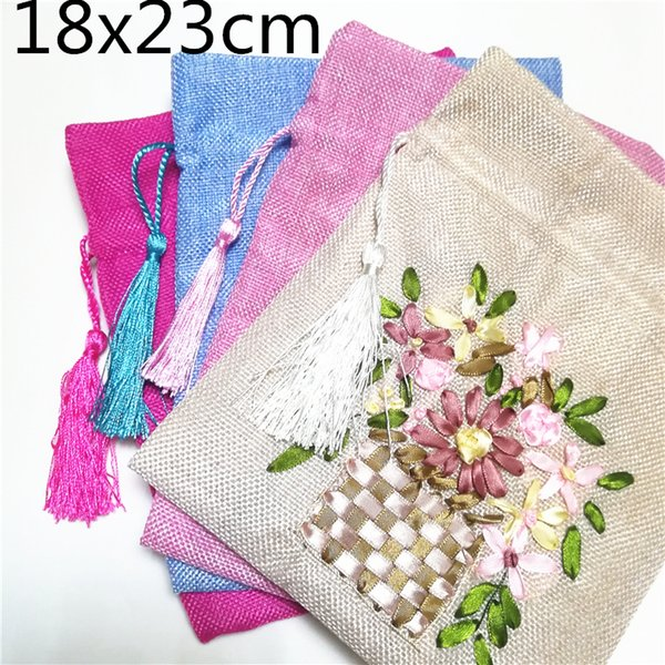 Hand Ribbon Embroidery Large Gift Bag Burlap Christmas Drawstring Pouch Bunk Fabric Wedding Party Favor Bags Lavender Bag 10pcs/lot
