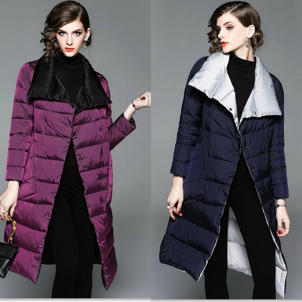Women Designer Winter Coats 2018 Fashion Middle Length White Duck Down Jackets Top Quality Women Clothes Two Colors In Stock