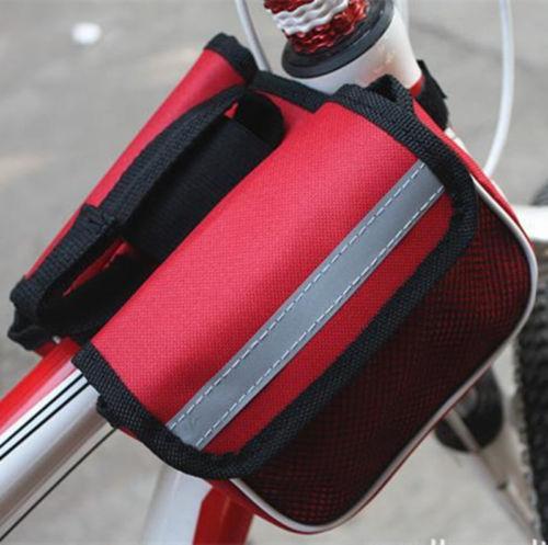 1 pcs Vélo Vélo Vélo Cadre Pannier Avant Tube Sac Poche Cas Double-Selle Polyster Étanche Imperméable Vélo Sac