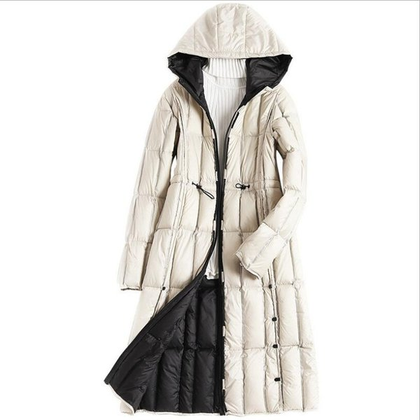 women's long parkas for women winter coat warm quilted down jackets luxury brands design thickened beige hooded black