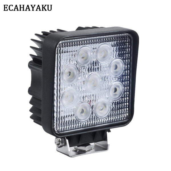 ECAHAYAKU 1x 4 inch 27W LED Work Light 12V 24V off-road 4X4 car Truck SUV ATV Tractor offroad lights flood spot Driving Lamp