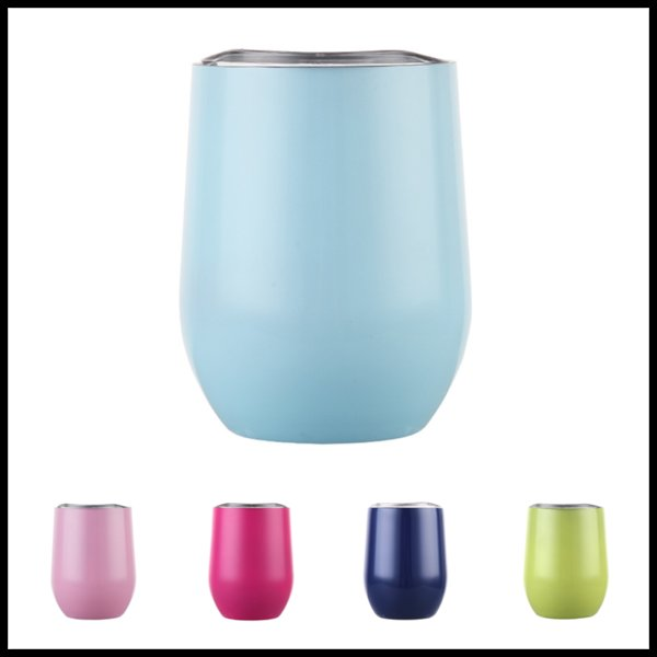 26 Colors in Stock 9oz Beer Double Wall Tea Cups with Lids Travel Mugs Wine Tumbler Egg Cups Coffee Softball Whisckey Glass Flask