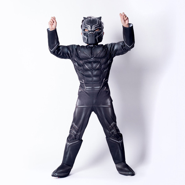 Style de muscle garçons Halloween Black Panther Cosplay costumes 2018 nouveaux enfants Avengers costume cosplay vêtements + masque 2 pcs ensembles B