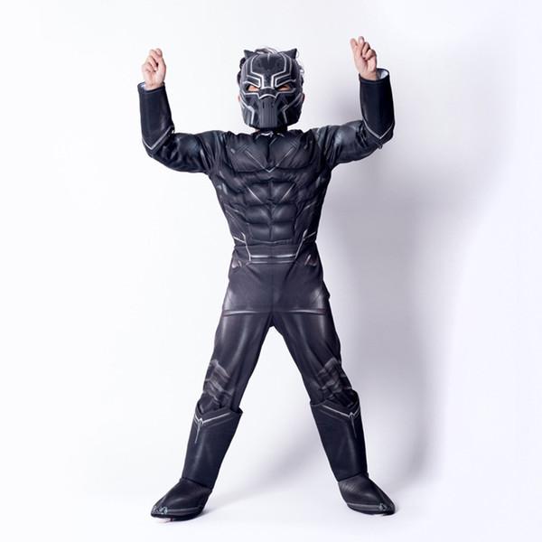 Jungen Halloween Black Panther muskel stil Cosplay anzüge 2018 Neue Kinder Avengers kostüm cosplay kleidung + maske 2 stücke sets B