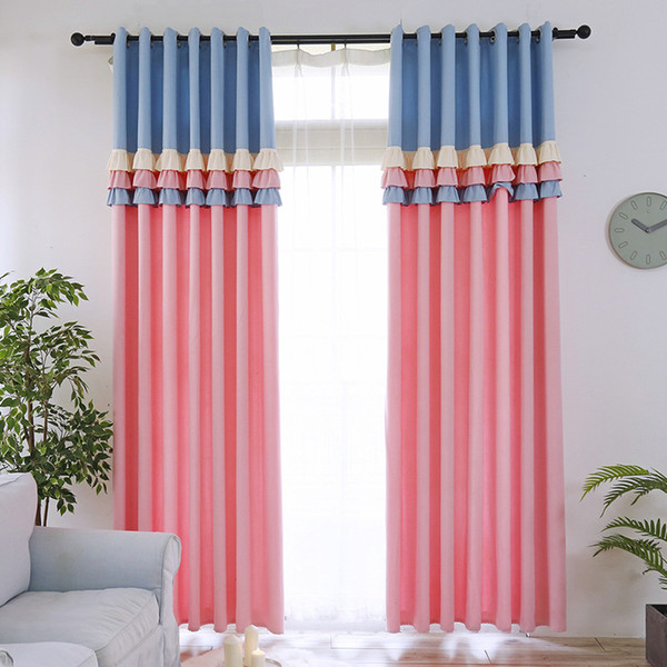 best selling Sweetheart Princess Style Blackout Curtain for Kids Room Girl Room Cute Blue Pink Lace Stitching Curtain for Living Room Curtain