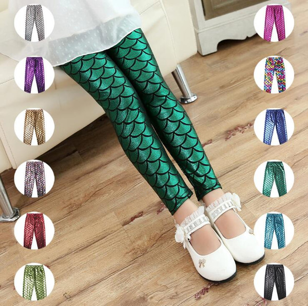 Mermaid Kids Pants Fish Scale Leggings Girls Colorful Digital Printing Tights Baby Shiny Fashion Pants Child Slim Stretchy Trousers