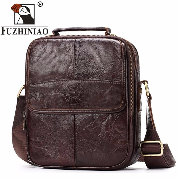 FUZHINIAO Genuine Cowhide Leather Messenger Bag Men Shoulder Crossbody Bags Bolsas Sac Sling Chest For Male Small Ipad Handbag