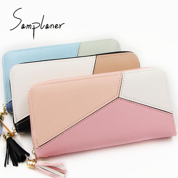 samplaner 2018 nouvelle mode multicolore exquis portefeuille à main dames longue personnalité hit couleur portefeuille multi-carte à glissière sac