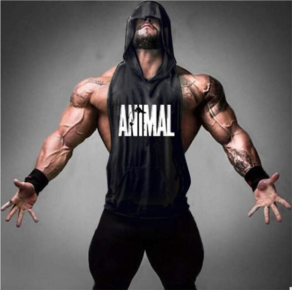 New Brand Animal Fitness Stringer Hoodies Muscle Shirt Bodybuilding Clothing Gyms Tank Top Mens Sporting Sleeveless T shirts