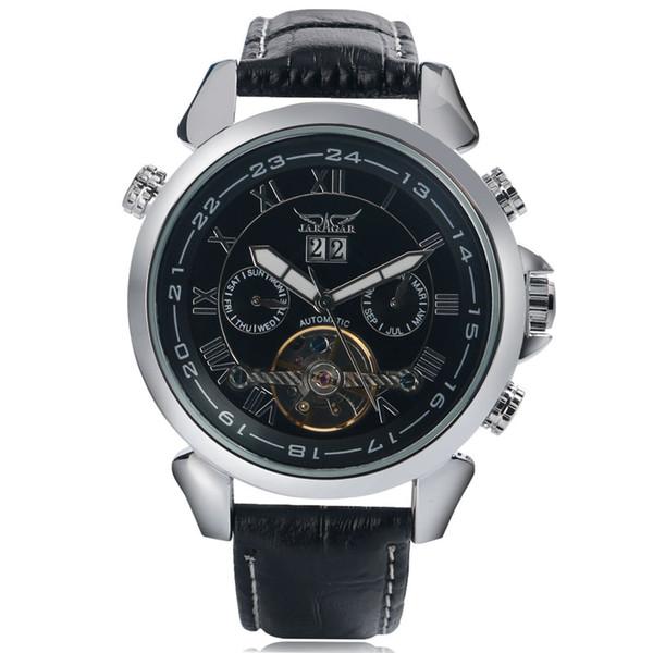 JARAGAR Luxury Tourbillon Self-Wind Mechanical Men's Wristwatch Day Display Dial with Genuine Leather Sports Men Clock Gifts